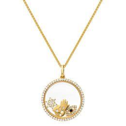 abrindo lockets Desconto 925 colar de medalhão flutuante de prata esterlina se encaixa pandora europeu sorte símbolo aberto colares de prata