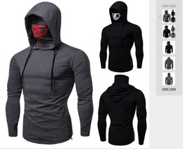 Canada Printemps 2019 Commerce extérieur Nouvel Elastic Fitness Hommes Ninja Dress T-shirt À Manches Longues avec Casquettes Mission Call Skull Mask T-shirt supplier elastic skull cap Offre