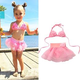 menina biquíni de uma peça Desconto Verão Crianças Baby Girl Tutu Skirt Bikini Set Floral Swimsuit da criança meninas maiô Beachwear Swimwear 1-6Y