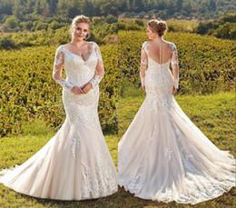 2019 alças de strass sereia casamento vestido Vestidos De Casamento Champagne V Neck Sheer Mangas Compridas Rendas Sereia Do Casamento Vestidos De Noiva Sereia Rendas Apliques de Vestidos de Noiva