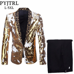 Pyjtrl Men Plus Size 5xl Cambio de trajes de lentejuelas de doble color Negro Royal Blue Green Purple Silver Red Gold Paillette Prom Tuxedo desde fabricantes