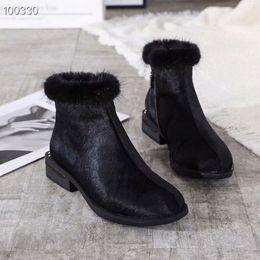 botas universitarias Rebajas Mujeres botines 2019 otoño e invierno conjuntos de pieles manera del viento de la universidad de tamaño botas planas de tendencia temperamento zapatos 35-39