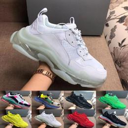 Großhandel Designer 17FW Triple S Fügt eine klare Blase Midsole Turnschuhe der Männer Frauen Neongrün Luxus Erhöhung Marke beiläufige Dad Schuhe