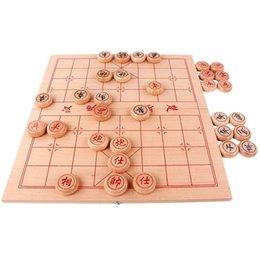 jogos de xadrez madeira Desconto Tradicional China Xadrez Vários tamanhos de Madeira De Faia Cor Parte De Madeira Dobrável Placa Quebra-cabeça Portátil Jogos de Xadrez