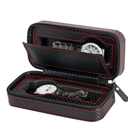 Deutschland Tragbare Reiseveranstalter Fall Carbon Leder Reißverschluss Uhren Box Display Container Lagerung Inhaber cheap leather storage containers Versorgung