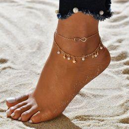 pendentif pieds d'argent Promotion Nouveau Double Infinite Perles Et Etoile Eté Style Or Argent Couleur Pendentif Chaîne de Pied Cheville Pour Femme BB352