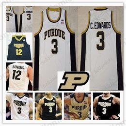 Basket-ball en jersey à col en v en Ligne-Top qualité # 3 Carsen Edwards Purdue Chaudronnier v-cou de Basket-ball Col rond Jersey noir blanc Or Hommes Jeunesse Enfant cousu Maillots