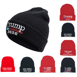 Amerikanische beanies online-Stickerei Donald Trump 2020 Skullies Beanies Strickmütze American Election Great Flag Cap Winter Warme Partyhüte 12Colors WX9-1560
