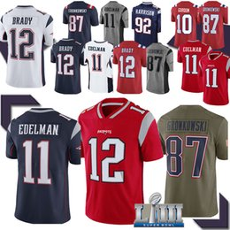 Rob on-line-12 jerseys Tom Brady New Englands Patriot Jersey 11 Julian Edelman 87 Rob Gronkowski 2019 homens new jersey de qualidade TOP