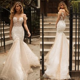 vintage fishtail wedding dresses Coupons - Milla Nova 2019 Lace Fishtail Bride Wedding Dresses Vintage Mermaid Champagne Maxi Bridal Dress Dubai Arabic Off Shoulder Wedding Gowns