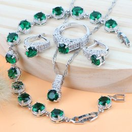 Le donne di lusso sposa gioielli da sposa per il costume verde Zirconia gioielli in argento 925 pendent collana anelli orecchini bracciali da