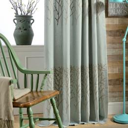 Tessuto di lino blu online-Tessuti per tende minimalista moderno in di stile di cotone e lino tessuti ricamati giardino, la moda stile country americano Wild Blue Living luce