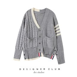 651d16d928 2019 Spring And Autumn Women Cardigan Sweater V Collar Asymmetric Crude Rod Needle  Cardigan Knitting Short Loose Coat Personality Style