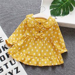 Robes de mariée jaunes violettes en Ligne-2019 3M-3Y Toddler Bébé Fille Printemps Robe Polka Dots Bowknot Robe De Mariage Anniversaire Pageant Robes Jaune Pourpre