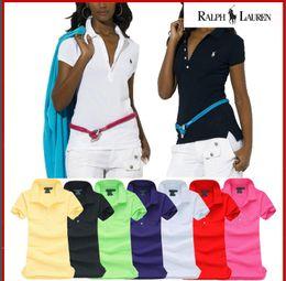 Maglietta 100% cotone t-shirt donna primavera / estate 2019 moda ricamata prima di aprire 5 bottoni slim manica corta cheap t shirt pony da pony della maglietta fornitori