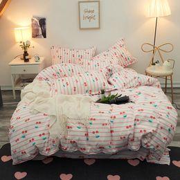 Mädchen bettwäsche setzt voll rosa online-Pink Cherry Bettwäsche-Sets Mädchen Frau Kinder Teen Adult Bettwäsche Bettbezug Flachbett Bettwäsche Kissenbezug King full Twin Bettwäsche