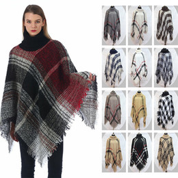 poncho scialle sciolto Sconti vendita Autunno Inverno scialle collo alto su grande cortile classico delle donne verificata moda mantello sciolti Bat Poncho T9B001