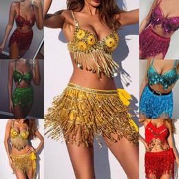Argentina Mini falda de poliéster sexy falda de verano 2019 sólido mujeres de lentejuelas bailarina del vientre traje de la borla del abrigo W406 cheap dancer costumes for women Suministro