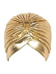 Серебряный тюрбан онлайн-Металлический Тюрбан Head Wrap Hat оголовье bandanaCap золото и серебро цвет