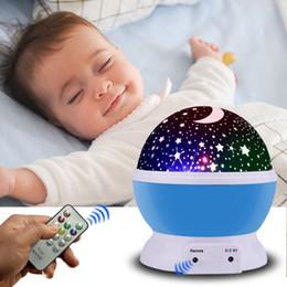 ruotare la palla Sconti Led Rotating Star Proiettore Cavo USB Novità Illuminazione Cielo Rotazione Nursery Luce di notte Bambini Remote Baby Lamp Moon Ball Q190611