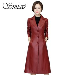 9f456094054 Women Long Faux Leather Jacket 2019 Spring Brand Plus Size 5XL Ladies  Elegant Solid Slim PU Leather Jackets Female Trench Coats
