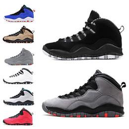 2019 chaussure de sport balle mi-coupe 2019 sport Formateurs Cut Fashion Designer Sneaker classique 10 10s Cement Chicago Je suis de retour hommes chaussures de basket-ball noir gris Mens Mid size7-13 chaussure de sport balle mi-coupe pas cher