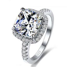 Gemas de plata de ley online-Anillo de lujo 925 lleno de plata esterlina blanco Zafiro Gema Zirconia oro Mujeres Anillo de compromiso de boda anillo de regalo EE. UU. 5/6/7/8/9