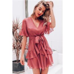 68a16f010232 vestiti chiffon rosso increspato Sconti Abiti da donna vintage 2019 Abiti  vintage sexy Abiti in chiffon