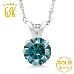 GEMSTONEKING Ciondolo in oro bianco 14 carati Blue Round Moissanite creato 0.50ct DEW per gioielli da donna da base di profumo fornitori