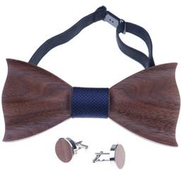 Canada 1set Cravate En Bois De Poche Place Bouton De Manchette En Bois Cravate Noeud De Mariage De Mode En Bois Cravates Noeud Ensemble En Bois Hommes Accessoires Offre