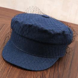 2019 angepasste hüte Lady Fashion Rodeo Baseballmütze Verbandsmull Verzierte Wohnung Baseball-Mütze Top Marine Geschwungene Britische Weinlese Schleier Cap Passen B-8915 günstig angepasste hüte