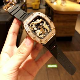 bracelet en caoutchouc Promotion Les derniers hommes étonnent Design Watch Rose Gold Steel Diamond Case montre-bracelet en caoutchouc montre automatique montres mécaniques