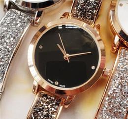2019 Rhinestone Modelo de Lujo Reloj de Las Mujeres joyas de diamantes llenas de oro rosa Diseño Relojes De Marca Mujer Vestido de Señora Reloj de cuarzo envío desde fabricantes