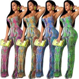 Vêtements de corde sexy en Ligne-Sexy Snakeskin Line Digital Print Straps Jumpsuit Women's Clothing Hot Day Open Back Rope Strap Rompers 2XL