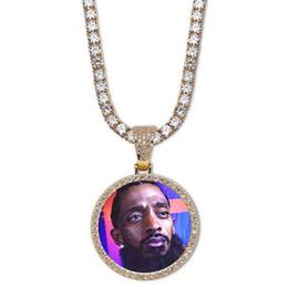 Catene di foto a pendente online-14K collana di ciondoli medaglioni tondo foto personalizzati con catena di corda da 24 pollici da uomo in oro colore argento con zirconi