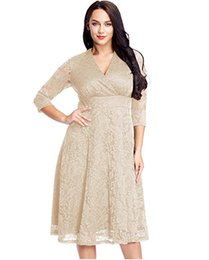 34aafb4147 Chinese 2019 European and American sexy V-neck seven-minute sleeve lace  hollow Crocheted