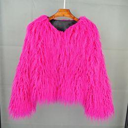 Colorido Boho Furry Abrigo de piel sintética O-Cuello Tallas grandes Mujeres Abrigos de piel Otoño Invierno Rosa Faux Shaggy Chaqueta desde fabricantes