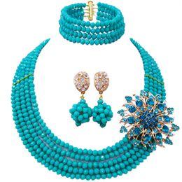 Аква-бисером оптом онлайн-Оптовая классическая мода Нигерия свадьба Африка бусы комплект ювелирных изделий Aqua blue ожерелье браслет свадебные ювелирные наборы MH-03