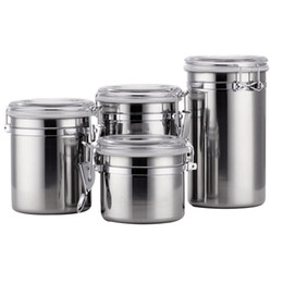Крышки контейнеров онлайн-4PCS/Set Sealed Jar Portable Storage Canisters Container Coffee With Airtight Lids Silver Stainless Steel Organizer
