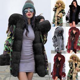 più abbigliamento donne camouflage abbigliamento Sconti Giacca mimetica invernale Donna collare Outwear Parka Pelliccia Signora Coat Plus Size Slim Fit lungo caldo del cappotto di moda abiti invernali donne