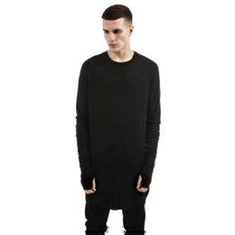t-shirt manches longues Promotion O-Neck Hommes Hip Hop T-shirt à manches longues Plein T-shirt avec le pouce trou Menottes T-shirts Chemises Curve Hem hommes Street Wear Hauts tricotée