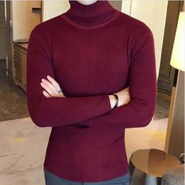 Pullover alto colletto online-Moda inverno collo alto spesso maglione caldo da uomo dolcevita marca maglioni da uomo maglione slim fit pullover uomo maglieria uomo doppio collo