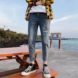 2019 рваные джинсы корейские мужчины Wholesale 2019 New male Korean slim ankle length pants cowboy teenagers washed men's feet shredded denim ripped hole jeans homme дешево рваные джинсы корейские мужчины