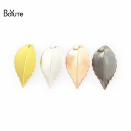 wholesale brass stamping Coupons - BoYuTe Wholesale (100 Pieces Lot) Metal Brass Stamping 16*25MM Leaf Charm Pendants DIY Handmade Jewelry Accessories 8 Colors