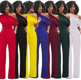 Сексуальные брюки тела онлайн-Женщины одно плечо комбинезоны ползунки общий сексуальный bodycon туника комбинезон партии элегантный широкий ноги брюки тело твердые комбинезон LJJA2579