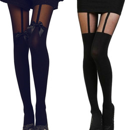 cb32d9b91 Wholesale Super Vintage Tights Bow Pantyhose Tattoo Mock Bow Suspender  Sheer Stockings Sexy Black Fishnet Pantyhose Hot sales