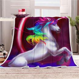 единорог ворс одеяло супер мягкий конь единорога бархат плюшевые одеяло бросок искусство детское одеяло бросить путешествия пляжное полотенце напечатано MMA1156 cheap velvet art от Поставщики бархатное искусство