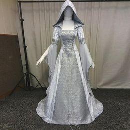 ropa estilo festival Rebajas 2019 Festival Vestido gótico de la vendimia vestido de estilo medieval de ropa Cosplay de las mujeres de Boho romántica Maxi Corte de vestuario # G7