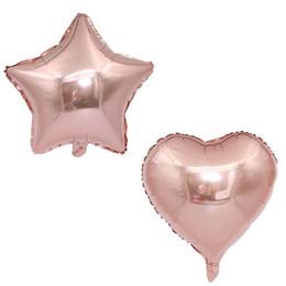 globos de aluminio de aluminio al por mayor Rebajas Hot new 18 inch rose gold star Corazón globos de aluminio Fiesta Globo Cumpleaños Boda Decoración Papel de aluminio globos al por mayor