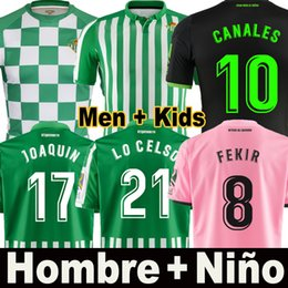 Wholesale 19 maillot de football camiseta Real Betis édition limitée FEKIR JOAQUIN LO CELSO BARTRA troisième maillot de football rose pour homme Uniforme pour enfant